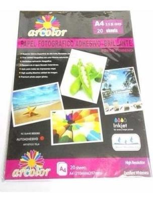 Papel Autoadhesivo Fotografico A4 Inkjet x20 Glossy 115 Grs
