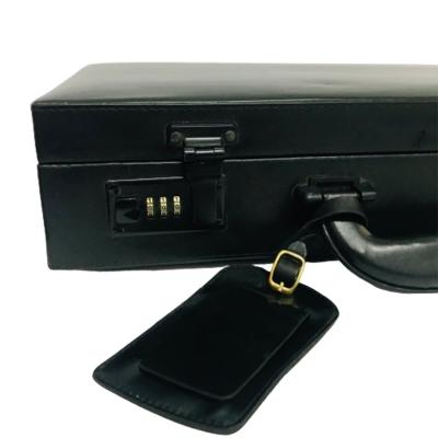 Portafolios Attaché De Cuero Negro Con Combinación
