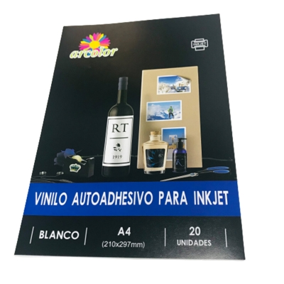 Papel Adhesivo A4 Vinilo Blanco (x Unidad)